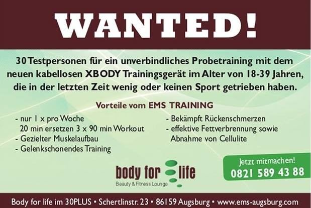 fitness, wellness, studio, 30, plus, Augsburg, fitnessstudio, probetraining